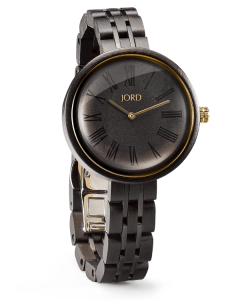 Jord Wood Watch Cassia 106 Front Angled Ebony and Sable / Black and Gold Watch